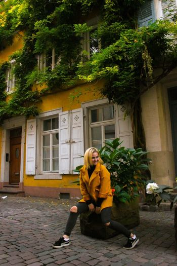 TakeoverContrast Architecture Built Structure Full Length Building Exterior Residential Building Casual Clothing Day Young Adult Person Outdoors Girl Cute Heidelberg Old Downtown Historic Downtown Sommergefühle