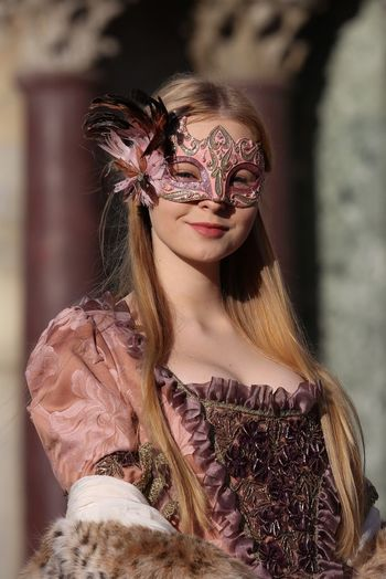 Mary My Daughter Carnival Dress Holiday Portrait Portrait Of A Woman Girl Young Adult Young Women Colors Blonde Long Hair Smile Venice Venice, Italy Traveling