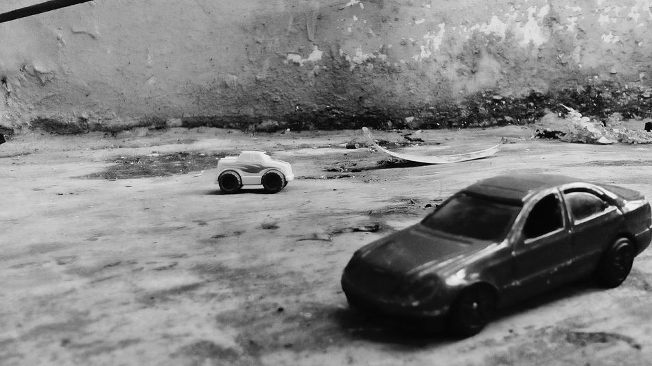 Two Cars Photography Black And White Toys Ground View Classic