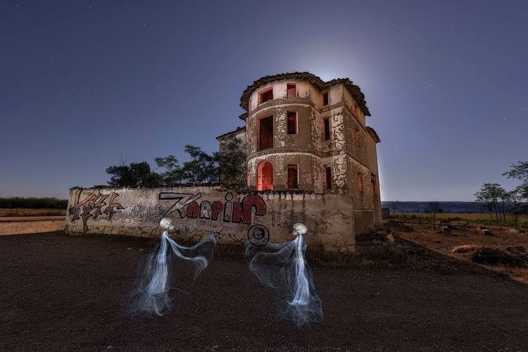 Two ghosts Long Exposure Abandoned Buildings Ghost Night Old Ruin Architecture Built Structure No People Sky Star - Space Outdoors EyeEmNewHere
