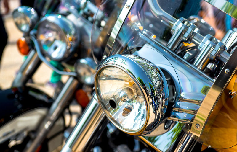 Motorcycle headlight Bike Chrome Classic Clean Close-up Contemporary Day Design Detail Drive Fragment Glass Headlamps Headlight Land Vehicle Modern Motorbike Motorcycle No People Nobody Outdoors Silver  Transport Transportation Vehicle