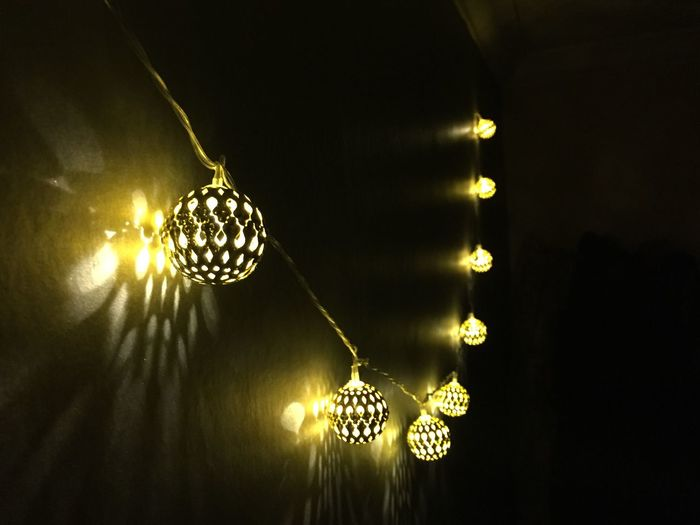 Beautifully Organized Illuminated Decoration Hanging Low Angle View Lighting Equipment Glowing Electricity  No People Light Bulb Indoors  Close-up Home Interior Light Effect Night