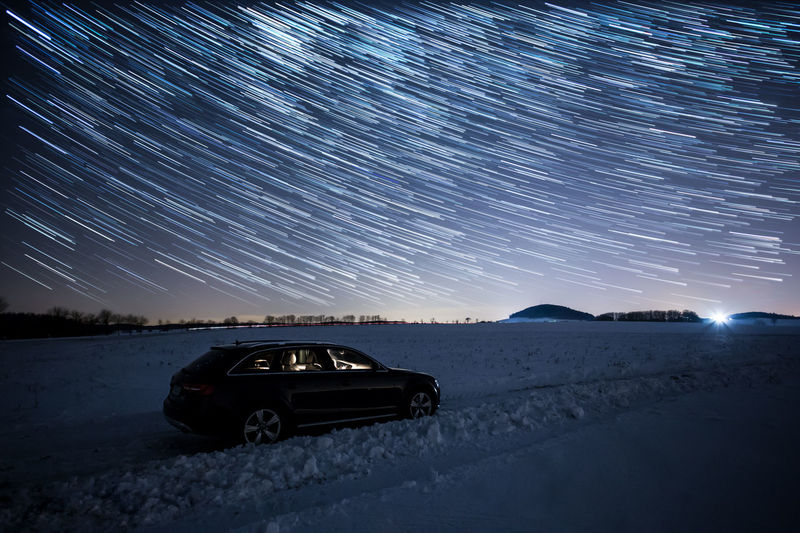 Allroad Astronomy Audi Beauty In Nature Car Cold Temperature Frozen Galaxy Illuminated Landscape Mountain Nature Night No People Scenics Sky Snow Space Star Star - Space Star Trail Startrails Vorsprungdurchtechnik Winter Winter