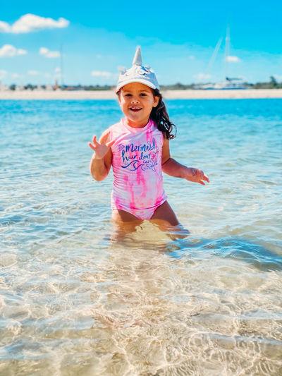 Portrait of cute girl in sea