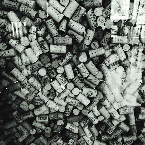 Full Frame Shot Of Wine Corks Seen Through Glass