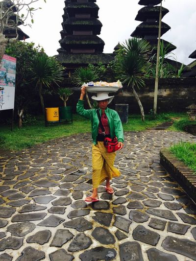 Bali, Indonesia Built Structure Carrying Food On Head Cultures Lifestyles One Person Temple - Building Tradition Traditional Clothing Village Women