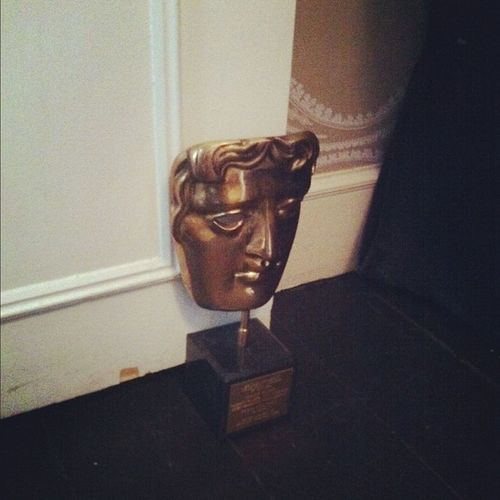 Our mate uses her BAFTA to hold the door open #whatevs Whatevs