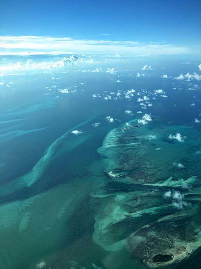Aerial view of caribbean sea against sky