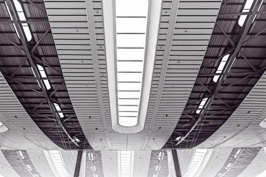 Architecture Blackandwhite Built_Structure Day Depth Low Angle View No People Outdoors Roof Shanghai Simmetry Sky Structure Train Station Welcome Weekly