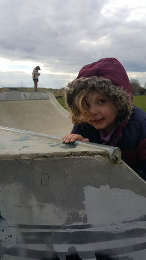 No Edit No Filter Unexpected Photo Skate Park Skate Ramp Out And About With The Kids Day Out Daytime Child Childhood Males  Portrait Togetherness Boys Bonding Girls Standing Son Family With Two Children Inner Power This Is Family Visual Creativity