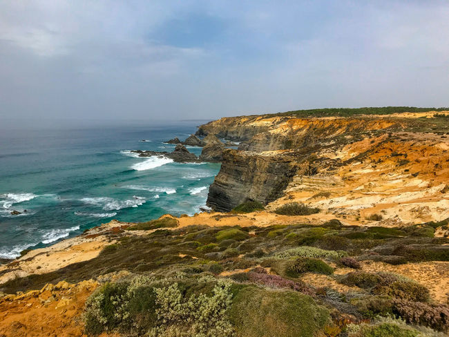 Coastline Landscape_Collection Nature Nature Photography Portugal Tranquility Cavaleiro Cliff Cloud - Sky Eroded Landscape Nature_collection Naturelovers Ocean Photography Scenery Scenics Scenics - Nature Sea Sea And Sky Seascape Sky Tranquil Scene Travel Destinations Water