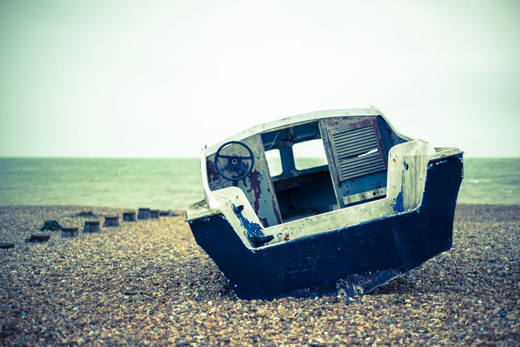 Sky Land Beach Nature Abandoned Damaged Obsolete Sea Mode Of Transportation Water Day Old Transportation Clear Sky Run-down Deterioration Horizon Decline Outdoors No People Horizon Over Water Ruined Eastbourne Beached Boat