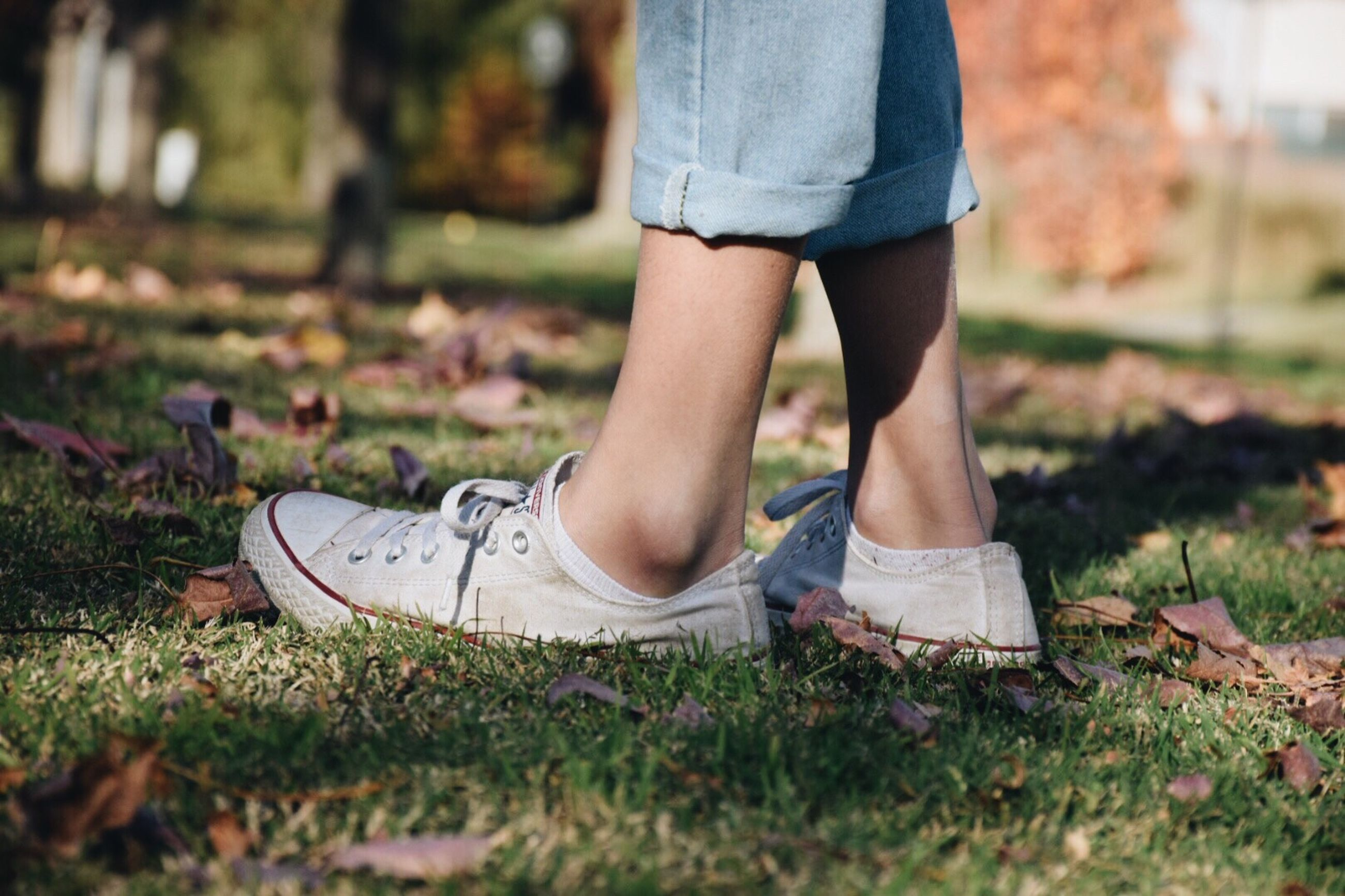 low section, shoe, real people, one person, human leg, canvas shoe, standing, jeans, grass, casual clothing, day, outdoors, lifestyles, nature, close-up, people