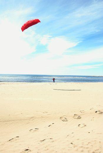 Kite Kite Flying Beach Western Brook Beach Parks Canada Gros Morne Red Soar Fun Newfoundland Canada Coastal Life Blue Sky