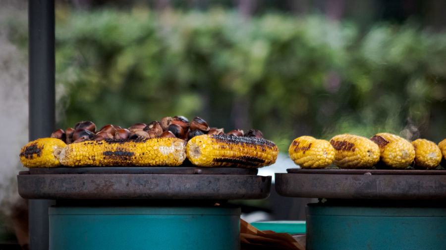 Grilled corn on a hot plate sold on the street