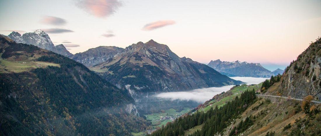 Beauty In Nature Clouds Day Fok Landscape Mountain Mountain Peak Mountain Range Mountain View Nature Nebel Nebelmeer No People Outdoors Scenics Schweiz 🇨🇭, Sky Switzerland Alps Tree Perspectives On Nature