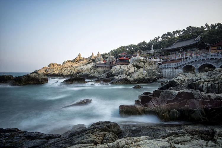 Haedong Yonggungsa Temple Seen From Rocky Shore