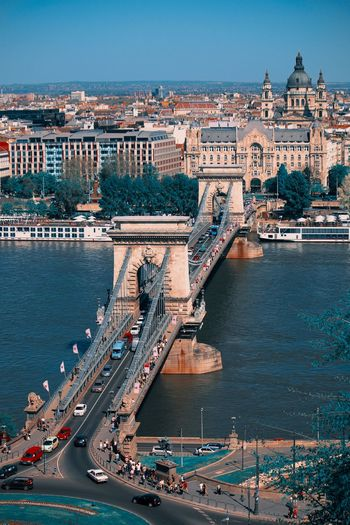 High angle view of chain bridge over danube