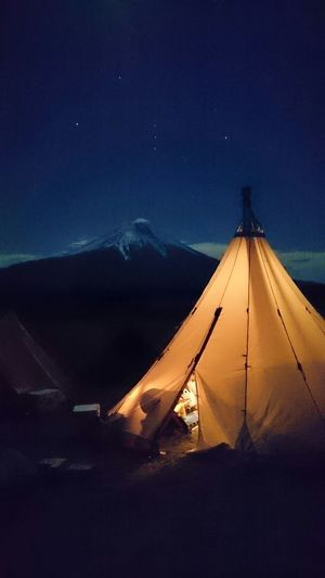 Tent Against Mt Fuji At Night