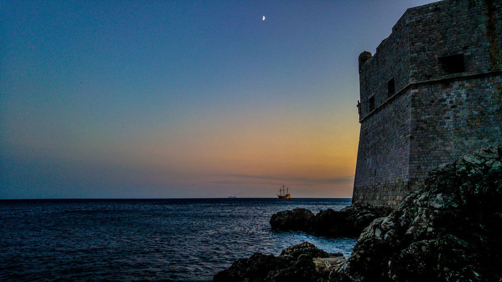 Tranquility Sea Tranquil Scene Sunset Blue Moon No People EyeEm New Here Lost In The Landscape Ship At Sea Fortress Dubrovnik, Croatia The Great Outdoors - 2018 EyeEm Awards