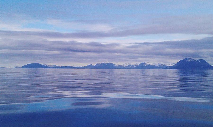 Lost in grey and blue Norway Norge Norwegen Norwegian Sea Vandve Scandinavia Polarcircle Reflection Sea Water Mountain Nature