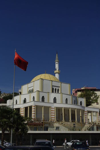 Flag Albania Shqiperia Durrës, Albania Travel Destinations Building Exterior History Clear Sky Sky Blue Built Structure