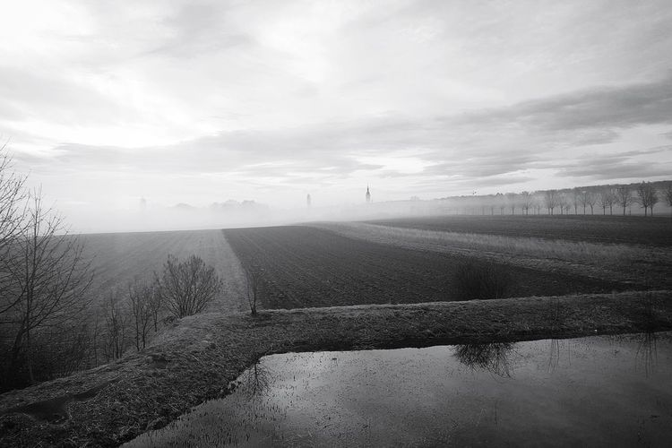 Blackandwhite Black And White Monochrome EyeEm Gallery EyeEm Best Shots EyeEm Best Shots - Black + White Taking Photos Light And Shadow Switzerland Landscape Landscape_Collection Landscape_photography Church Tower Moody Sky Mood Captures Fog Foggy Day Foggy Morning Rural Scene Fog Agriculture Sky Cloud - Sky Landscape Cultivated Land