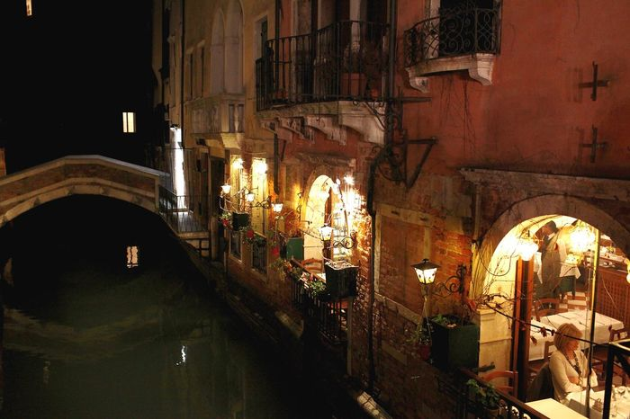 Illuminated Travel Destinations Architecture Dark No People Indoors  City Night Venice, ıtaly Reflection Travel Tourism Water City Life People City Nightlife Lighting Equipment Canal Real People Adult Restaurants