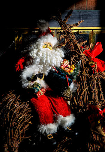 On the door Hanging Santa Claus Whiskers Beard Celebration Christmas Christmas Decoration Close-up Doll, Santa Door Indoors  Night No People White Beard Wreath