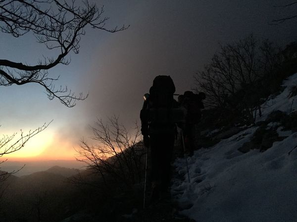 Night hike towards Struge mountain cabin, sunset over Paklenica, Croatia, Nov 18, 2017. Starigradpaklenica Paklenica Paklenica National Park Croatia Hiking Hikingadventures Silhouette Nature Winter Cold Temperature Beauty In Nature Togetherness