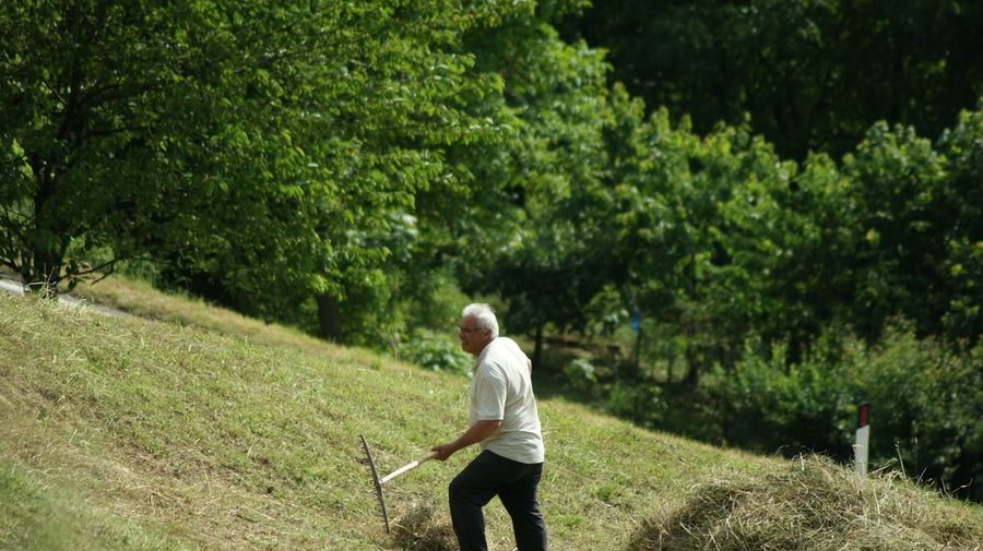 Side View Of Man Working On Grassy Field