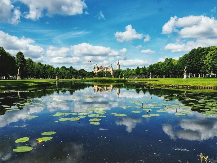 Castle Schwerin Water Reflection Cloud - Sky Outdoors Beauty In Nature Reflections In The Water Travel Destinations Relax Landscape Symmetry Green Color Freshness Cityscape Photography Architecture City View  Castle