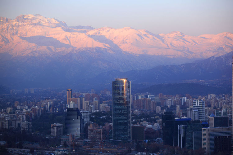 Aerial View Of City And Mountains Against Sky