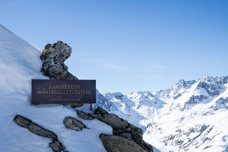 Entrance to the winter via ferrata at Sankt Anton am Arlberg Clear Sky Cold Temperature Mountain No People Outdoors Scenics Ski, Snowboard, Trail, Hiking, Action Sports, Skittering, Ferrying, Via Ferret, Climbing, Sports Snow Space For Text Tranquility Winter