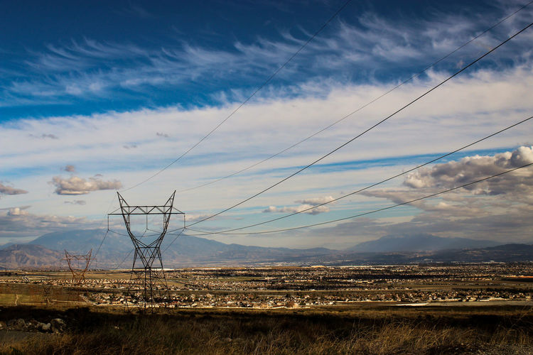 Beauty In Nature Cable Cloud - Sky Day Electrical Equipment Electricity  Electricity Pylon Environment Field Fuel And Power Generation Land Landscape Nature No People Outdoors Power Line  Power Supply Scenics - Nature Sky Technology Tranquil Scene Tranquility