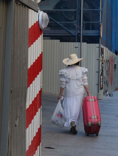 Alone Casual Clothing City Lifestyles Red Traveling Way Forward White Woman Streetphotography_fujifilm Ontheway