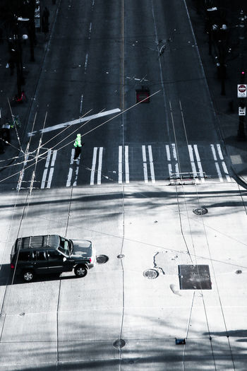 High angle view of car on road in city