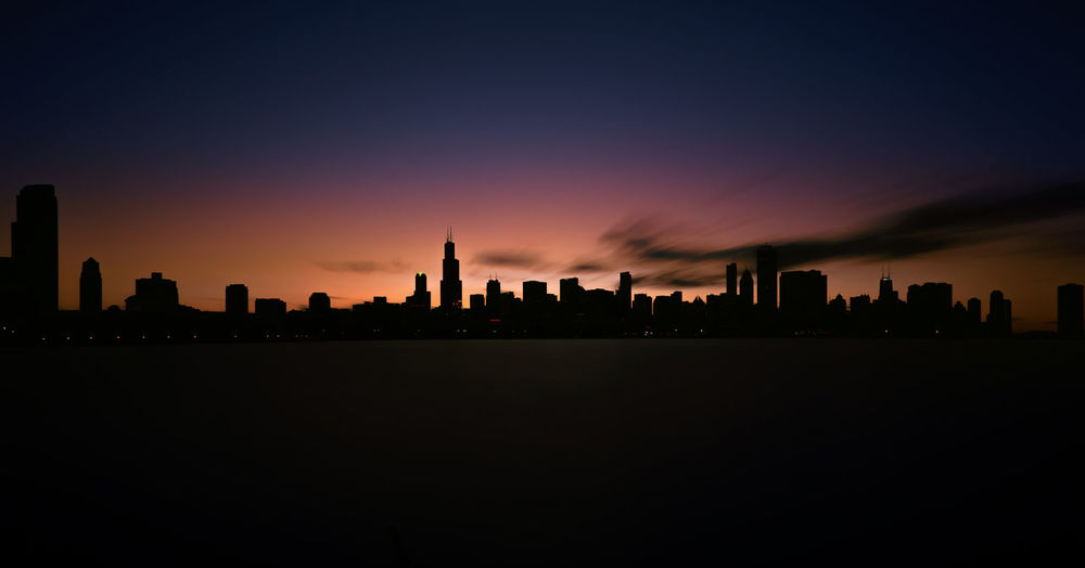 Chilouette Architecture Chicago,illinois,usa, City City Life Cityscape Illuminated MidWest Modern Night No People Outdoors Silhouette Sky Skyline Skyscraper Sunset Tall Tower Travel Destinations Urban Skyline
