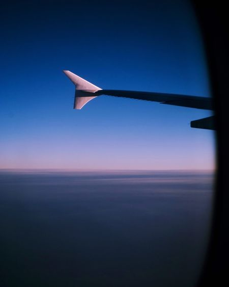 Above Light Colors Sunset Travel Photography Travel Sky Blue No People Nature Clear Sky Dusk Air Vehicle Airplane Beauty In Nature Tranquility Scenics - Nature Aircraft Wing Flying