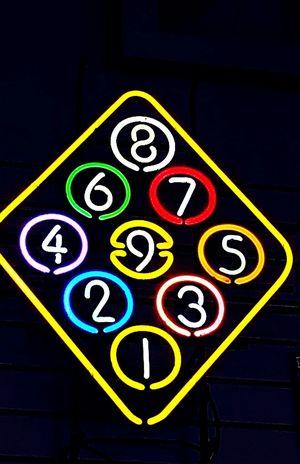 Glowing Lights Shooting Pool Color Explosion Neon Colors Neon Sign Beautifil Art Play BilliardsNine Ball
