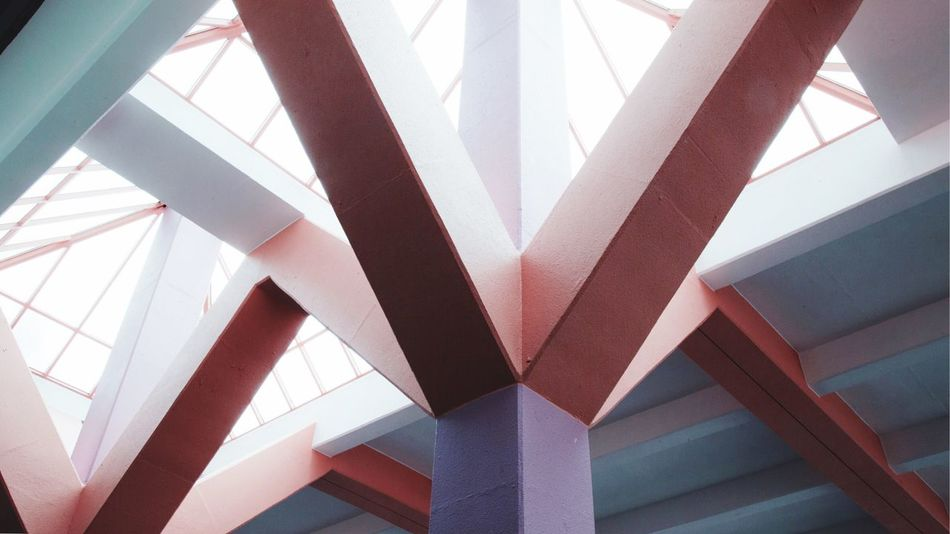Geometry Structure Eye4photography  Shopping Mall Old Buildings Lifestyles Geometric Architecture Geometry Hongkong Photos HongKong Architecture Built Structure Low Angle View Bridge - Man Made Structure Indoors  Day Underneath