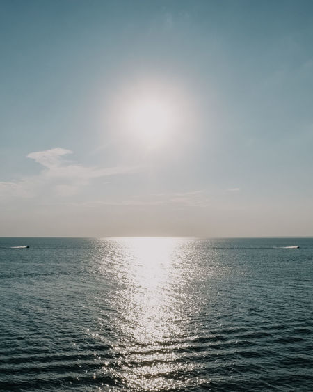 Beauty In Nature Bright Day Horizon Horizon Over Water Idyllic Nature No People Outdoors Reflection Scenics - Nature Sea Seascape Sky Sun Sunlight Tranquil Scene Tranquility Water Waterfront