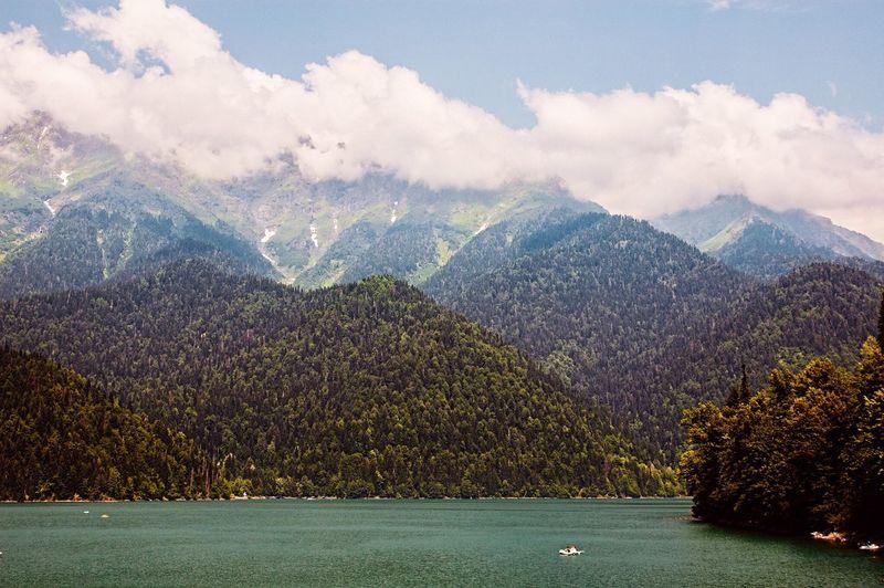 Traveling Abkhazia Landscape Lake Riza Mountains