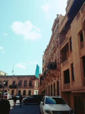 Baku Icherisheher Cloud - Sky Sky Building Exterior Architecture City Outdoors People Day Oldcity Oldtown Sunny Day 🌞 Nadir Azerbaijan Bakı AlovQüllələri Blue Flametowers Tower