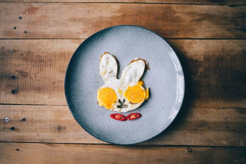 Bunny Easter Bunny  EyeEm Selects Plate Food Egg Wood - Material Food And Drink Directly Above Table No People Indoors  Homemade Egg Yolk Day Studio Shot Freshness