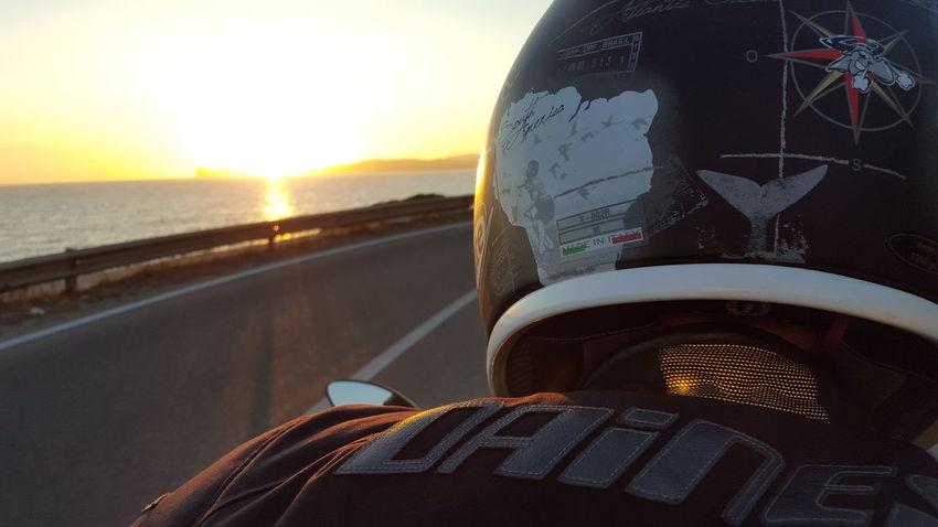 Ontheroad Sunset Motorcycle MotorcycleDiaries Adventure Helmets Dainese Xlitehelmet Roadtrip Sardinia Sea EyeEmNewHere
