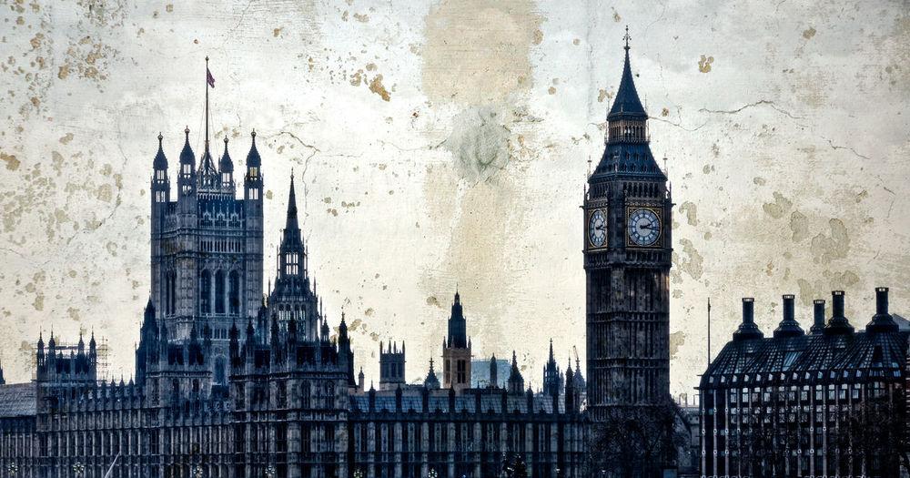 British parliament building against wall