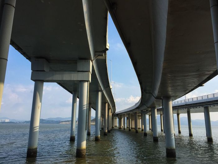 Bridge - Man Made Structure Connection Below Architectural Column Underneath Architecture Water Transportation Built Structure Bridge Sea Day Horizon Over Water Outdoors Under Nature Sky Pillar Low Angle View No People Mobility In Mega Cities