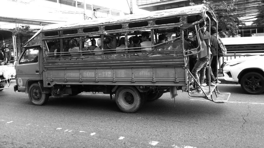 Blackandwhite Transportation Street City Labor Asian  Life Ontheroad Inthebus Bangkok Thailand.