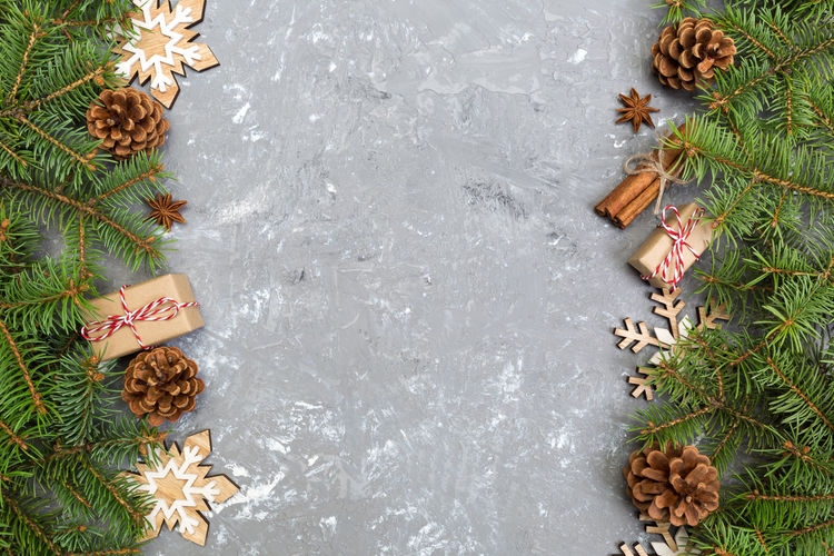 High angle view of pine cones on table